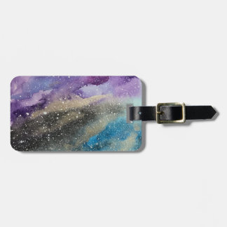 Galaxy Print Outer Space Watercolor Luggage Tag