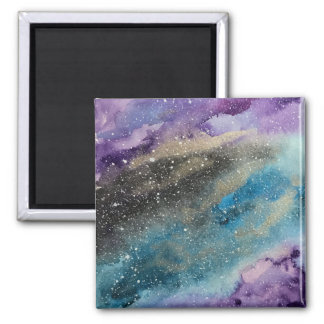 Galaxy Print Outer Space Watercolor Magnet