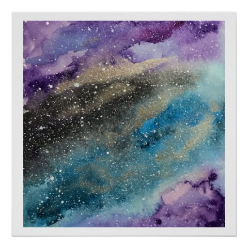 Galaxy Print Outer Space Watercolor Poster