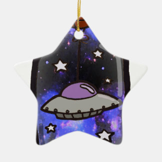 Galaxy Print UFO in a Bottle Christmas Ornament
