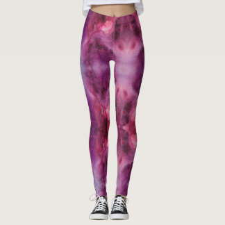 Galaxy Purple and Red Watercolor Leggings