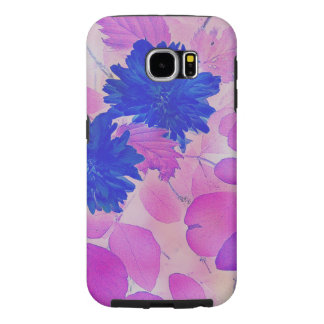 Galaxy S6 pink leaves blue flowers tough case