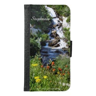Galaxy S6 Plus Wallet Case, Waterfalls Flowers