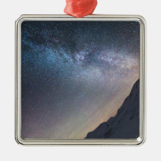 Galaxy Silver-Colored Square Decoration
