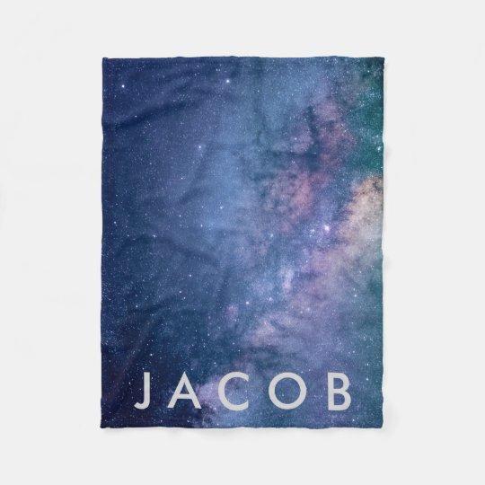 Galaxy • Space Background w/ Name Fleece Blanket
