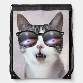 Galaxy Space Cats LOL Funny Drawstring Backpack
