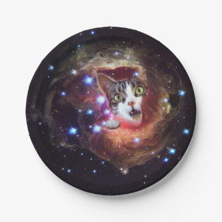 """""""Galaxy Space Cats"""" LOL Funny Paper Plates 7"""" 7 Inch Paper Plate"""