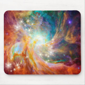 Galaxy Space Nebula Blue Gold Lavender Pink Mouse Mat
