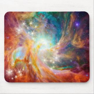 Galaxy Space Nebula Blue Gold Lavender Pink Mouse Mat
