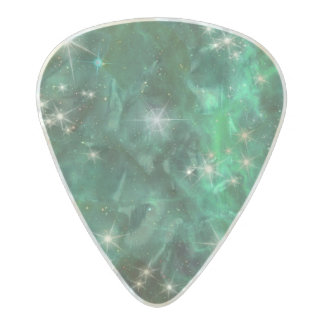 Galaxy Space Nebula Emerald Green Stars Pearl Celluloid Guitar Pick