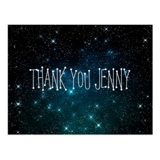 Galaxy Stars Night Thank You Personalized Postcard