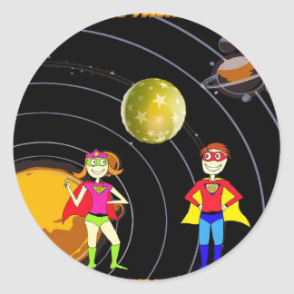 Galaxy Superheroes Classic Round Sticker