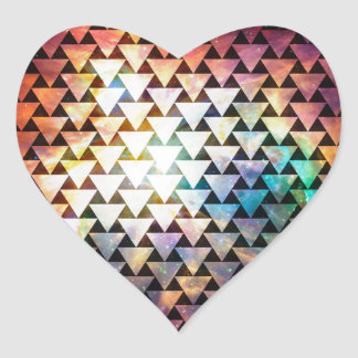 Galaxy Triangle Pattern Geometric Space Art Heart Sticker