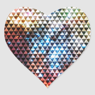 Galaxy Triangle Pattern Space Geometric Pattern Heart Sticker