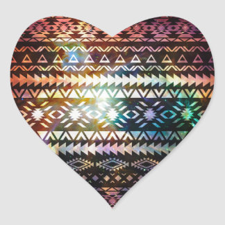 Galaxy Tribal pattern Space Aztec Ethnic Andes Heart Sticker