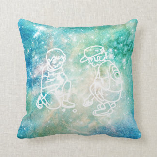 Galaxy Watercolor Boys Playing Marbels Doodles Cushion