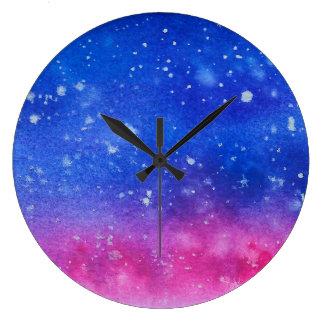 Galaxy Watercolour Large Clock