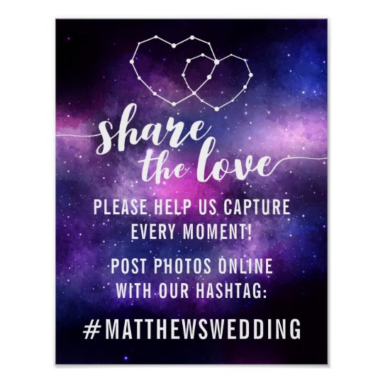 Galaxy Wedding Reception Stars Hashtag Photos Sign