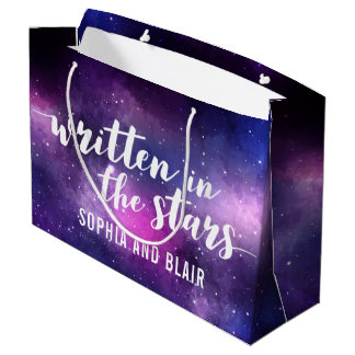 Galaxy Wedding Written In The Stars Personalized Large Gift Bag