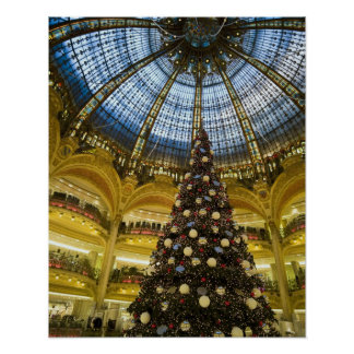 Galeries La Fayette at Christmas, Paris, France Poster