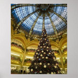 Galeries La Fayette at Christmas, Paris, France Poster