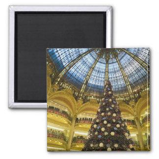 Galeries La Fayette at Christmas, Paris, France Square Magnet
