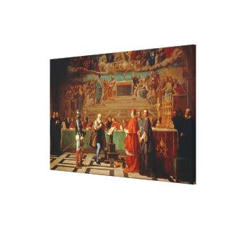 Galileo Galilei (1564-1642) before members of the Canvas Print