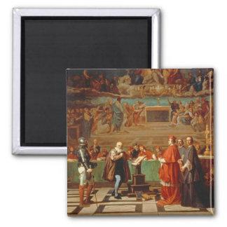 Galileo Galilei (1564-1642) before members of the Magnet