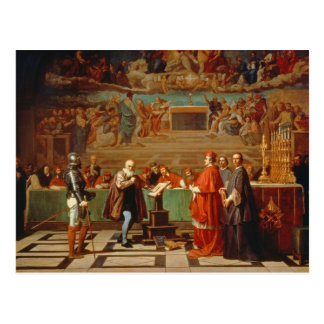 Galileo Galilei (1564-1642) before members of the Postcard