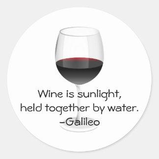 Galileo Wine Quote Classic Round Sticker