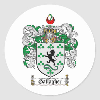GALLAGHER FAMILY CREST -  GALLAGHER COAT OF ARMS ROUND STICKER