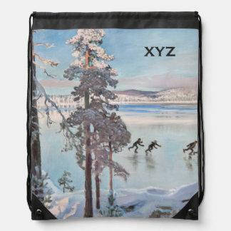Gallen-Kallela's Skaters custom monogram bag Drawstring Bags