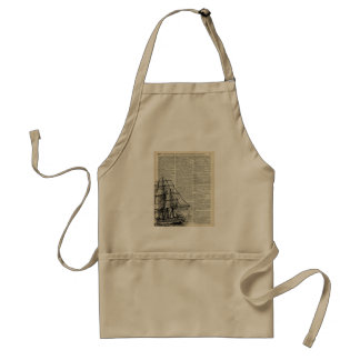 Galleon Ship Over Dictionary Page Standard Apron