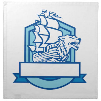 Galleon With Wolf on Bow Crest Retro Napkin