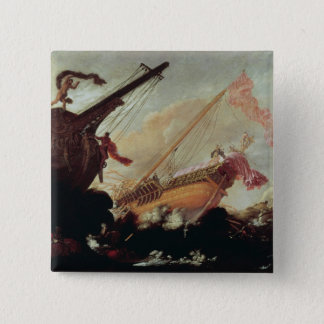 Galleons wrecked on a rocky shore 15 cm square badge