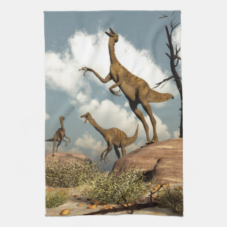 Gallimimus dinosaurs - 3D render Tea Towel