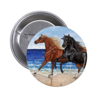 Gallop beach Arabian horse button