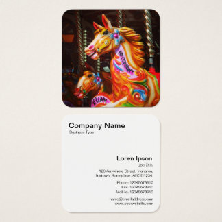 Gallopers (Fairground Horses) Square Business Card