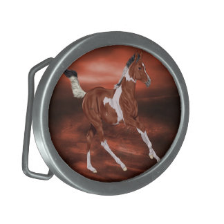 Galloping Bay and White Paint Horse Foal Belt Buckles