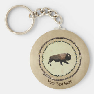 Galloping Bison On Old Paper Key Ring