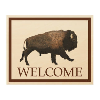 Galloping Bison - Welcome Wood Print