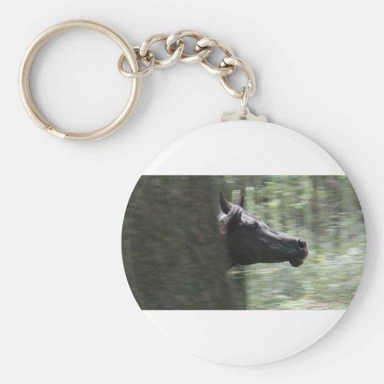 Galloping Black Arabian Mare Basic Round Button Key Ring
