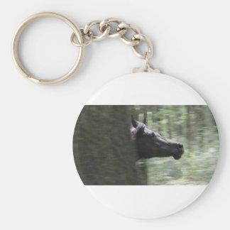 Galloping Black Arabian Mare Key Ring
