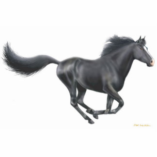 Galloping Black Horse Holiday Ornament Photo Sculpture Decoration