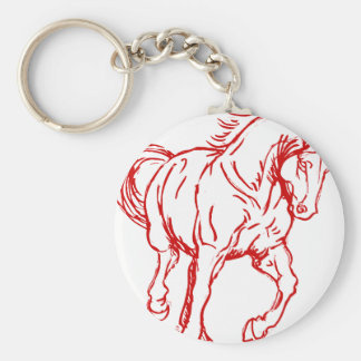 Galloping Draft Horse Basic Round Button Key Ring