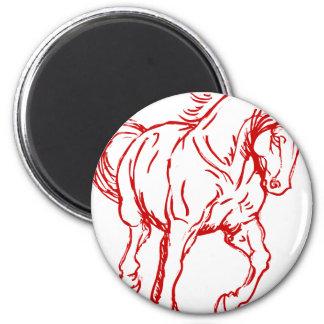 Galloping Draft Horse 6 Cm Round Magnet