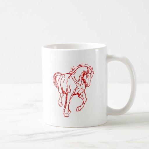 Galloping Draft Horse Coffee Mugs