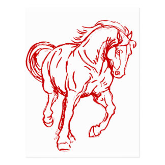 Galloping Draft Horse Postcard