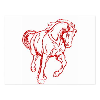 Galloping Draft Horse Post Card