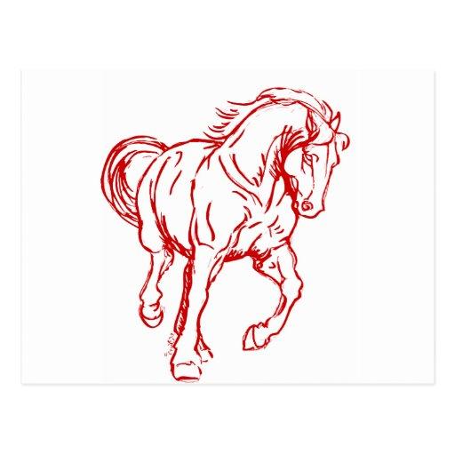 Galloping Draft Horse Post Card